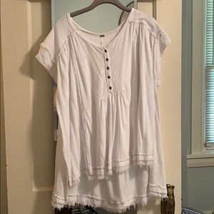 Free People Oversized White Top